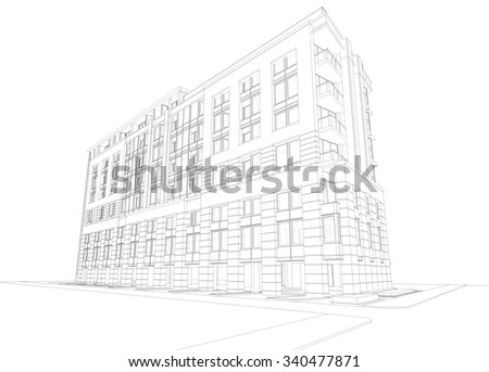 Abstract 3D rendering of building wireframe. 3D schematic design of architecture. - stock photo