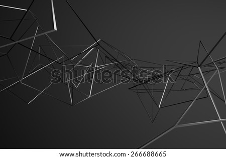 Abstract 3d rendering of chaotic metal structure. Dark background with chrome lines in empty space. Futuristic steel shape. - stock photo