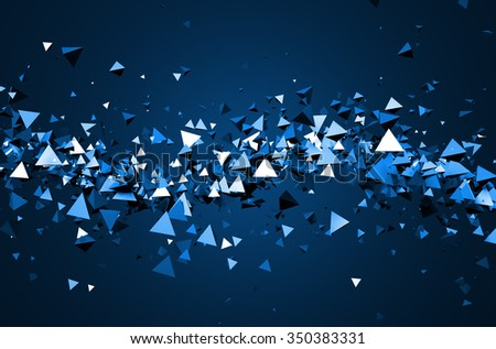 Abstract 3d rendering of chaotic particles. Background of pyramids in empty space. - stock photo