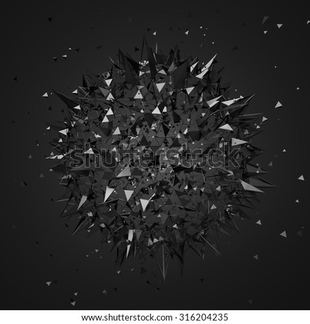Abstract 3d rendering of chaotic particles. Futuristic shape in empty space. Sci-fi background. - stock photo