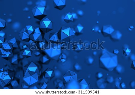 Abstract 3d rendering of chaotic particles. Low poly spheres in empty space. Futuristic background. - stock photo