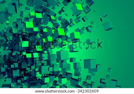 Abstract 3d rendering of chaotic particles. Poster with random cubes in empty space. Futuristic background. - stock photo