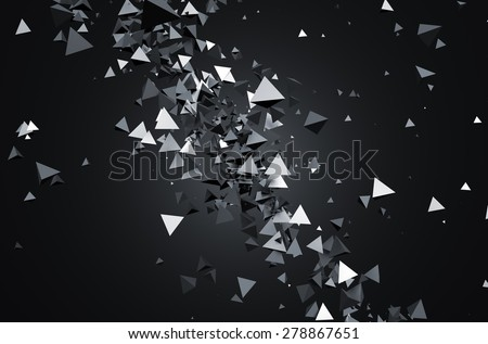 Abstract 3d rendering of chaotic particles. Sci fi pyramids in empty space. Futuristic background. - stock photo