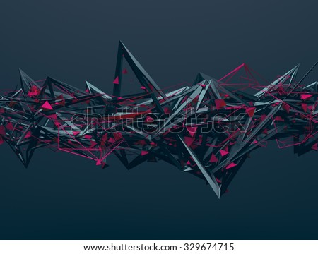 Abstract 3d rendering of chaotic structure. Dark background with futuristic shape in empty space. - stock photo