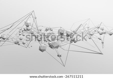 Abstract 3d rendering of chaotic structure. Light background with lines and low poly spheres in empty space. Futuristic shape. - stock photo