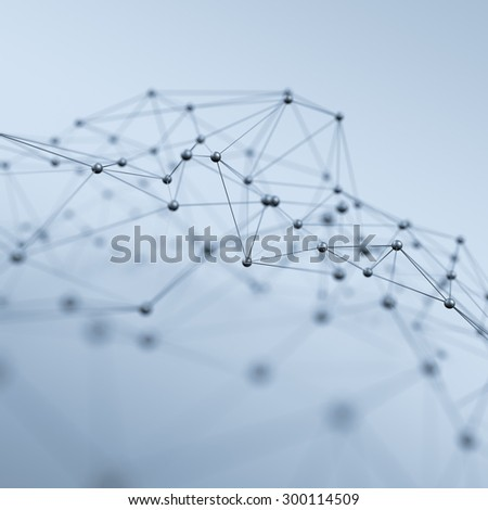 Abstract 3d rendering of chaotic structure. Light background with lines and spheres in empty space. Futuristic shape. - stock photo