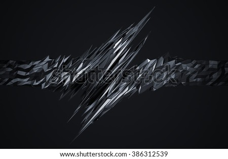 Abstract 3d rendering of chaotic surface. Background with futuristic polygonal shape. Noisy low poly metallic object.   - stock photo
