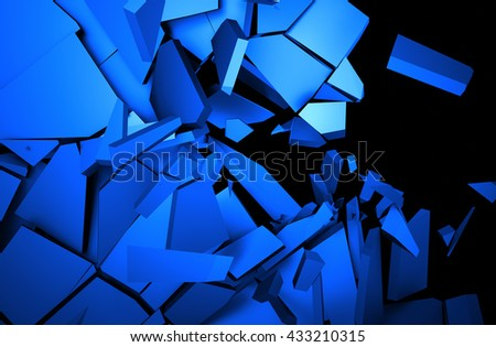 Abstract 3d rendering of cracked surface. Background with broken shape. Wall destruction. Explosion with debris.  - stock photo