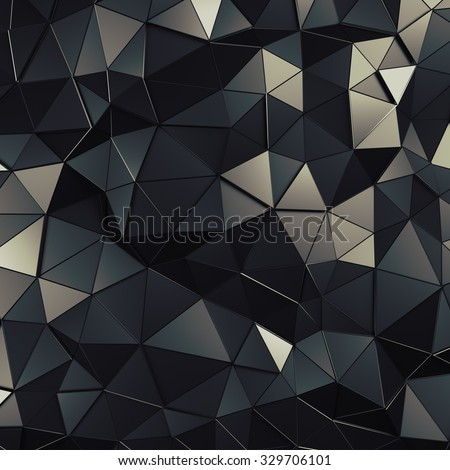 Abstract 3d rendering of dark surface. Background with futuristic polygonal shape. - stock photo