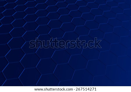 Abstract 3d rendering of futuristic surface with hexagons. Blue sci-fi background. - stock photo