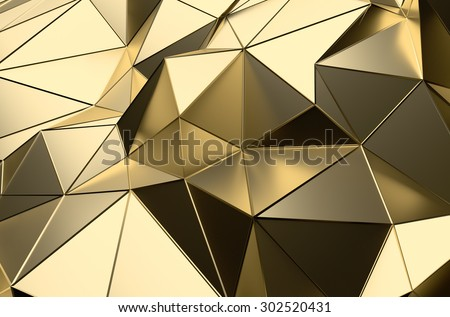 Abstract 3d rendering of gold surface. Futuristic background with lines and low poly shape. - stock photo