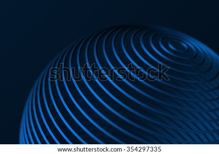Abstract 3d rendering of high tech metal structure. Blue background with lines in empty space. Futuristic steel shape. - stock photo