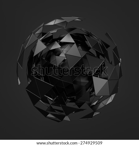 Abstract 3d rendering of low poly black sphere with chaotic structure. Sci-fi background with wireframe and globe in empty space. Futuristic shape. - stock photo