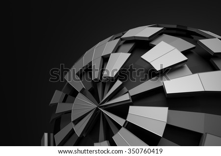 Abstract 3d rendering of low poly sphere with chaotic structure. Sci-fi background with wireframe and globe in empty space. Futuristic shape. - stock photo