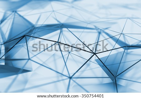 Abstract 3d rendering of low poly surface. Background with futuristic polygonal shape. - stock photo