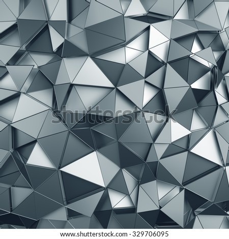 Abstract 3d rendering of metal surface. Background with futuristic polygonal shape. - stock photo