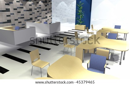 Abstract 3D rendering of modern office interior