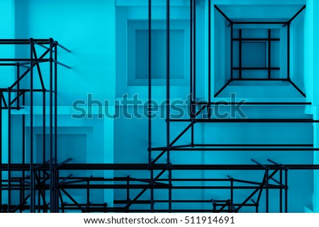 Abstract 3d rendering of several cubes. Background made of repetitive square blocks. Digital detailed illustration