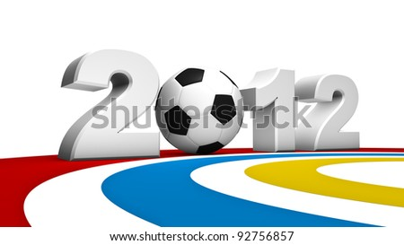 Abstract 3D rendering of soccer uefa euro 2012 - stock photo
