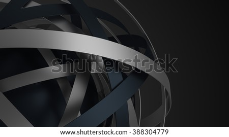 Abstract 3d rendering of sphere with rings in empty space. Futuristic shape. Surreal background. - stock photo