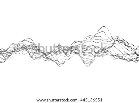 Abstract 3d rendering of waves with particles on white background. Futuristic background with lines of many low poly spheres. Design for poster, cover, banner, placard - stock photo
