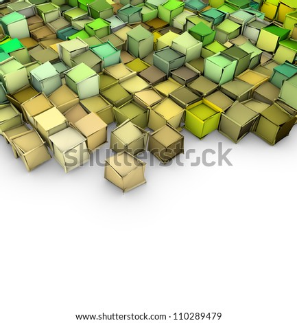 abstract 3d shape backdrop in green yellow on white - stock photo