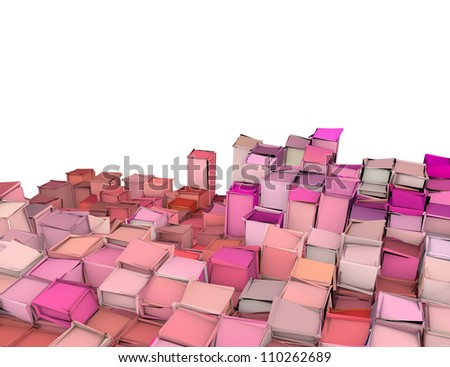 abstract 3d shape backdrop in pink red - stock photo