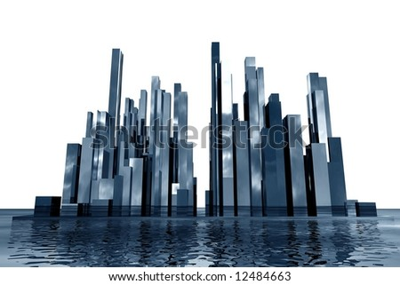 abstract  3d skyscrapers - stock photo