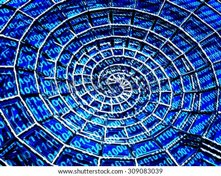 Abstract 3d spiral shell from a blue grid and binary code - stock photo