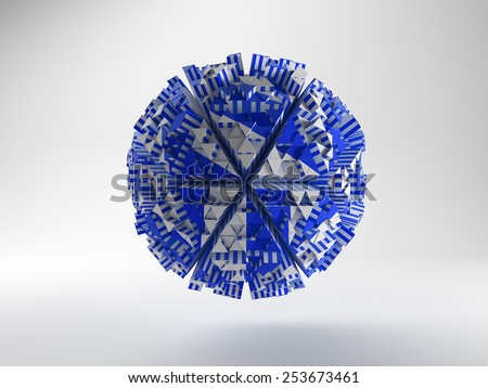 Abstract 3d triangle shape blue - stock photo