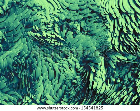 abstract 3d wavy emerald green scale background - stock photo