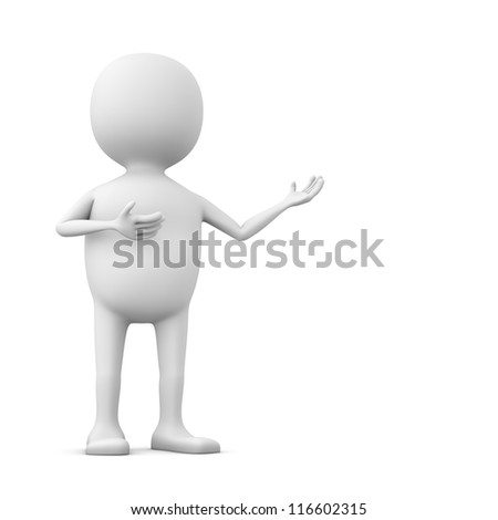 Abstract 3D white man showing something with copy space. - stock photo