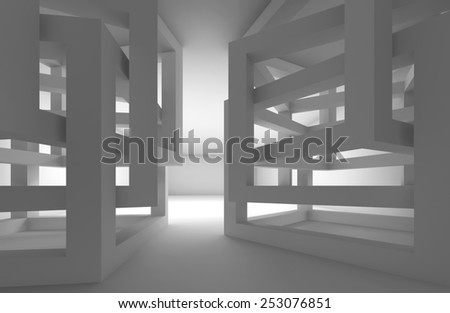 Abstract 3d white modern interior with chaotic cube constructions - stock photo