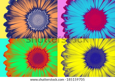 Abstract daisie in pop-art style - stock photo