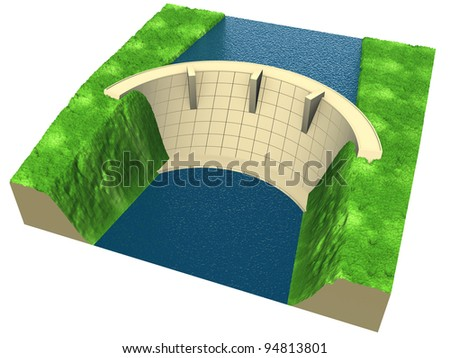 abstract  dam in an stylized landscape, 3d render isolated on white - stock photo