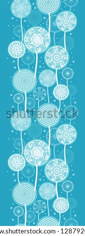 Abstract Dandelion Plants Vertical Seamless Pattern Raster