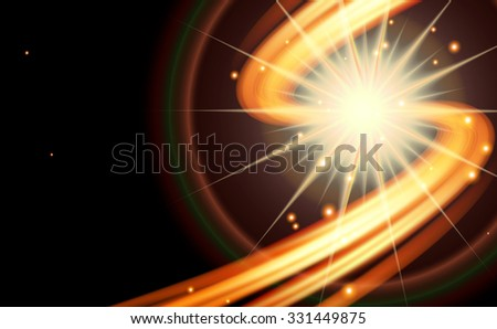Abstract dark background-curved line of fire with stars. Raster version. - stock photo