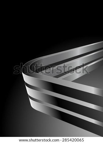 Abstract dark background with bent 3D steel bars and black copy space. - stock photo