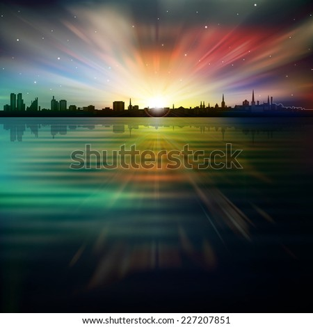 abstract dark background with silhouette of city stars and sunrise - stock photo