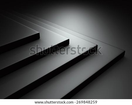 Abstract Dark Black Metallic Background. 3d Render Illustration - stock photo