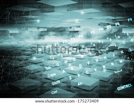 Abstract dark blue digital technology 3d background - stock photo