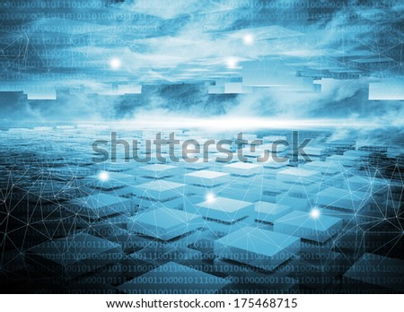Abstract dark blue digital technology 3d background with lights - stock photo