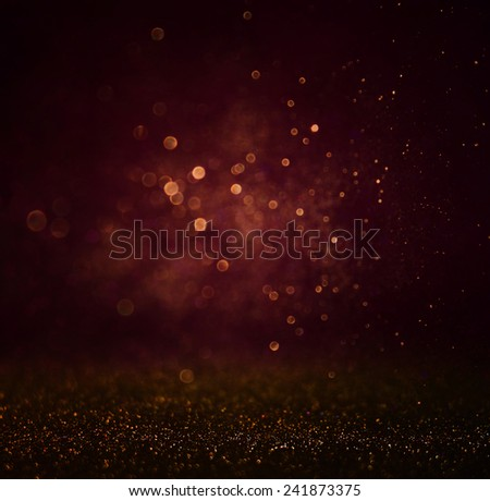 abstract dark bokhe lights background, purple ,black and gold. defocused - stock photo