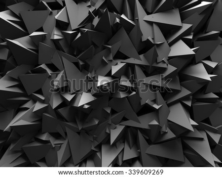 Abstract Dark Chaotic Wall Design Background. 3d Render Illustration - stock photo