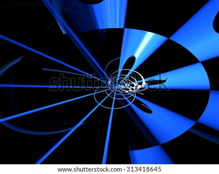 Abstract dark computer-generated image blue and white circles, lines and rings on a black background - stock photo