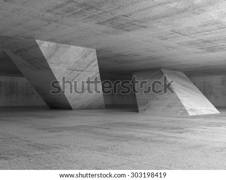 Abstract dark empty concrete room interior with inclined columns, 3d render illustration - stock photo