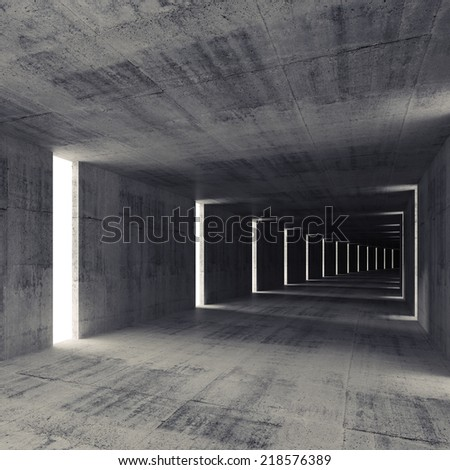 Abstract dark empty concrete tunnel interior, 3d background - stock photo