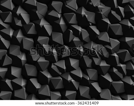 Abstract Dark Geometric Wall Background. 3d Render Illustration