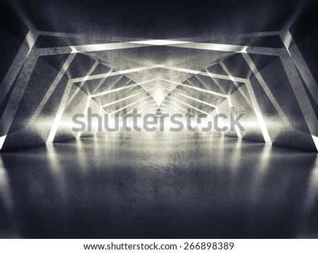 Abstract dark shining surreal tunnel interior background, 3d illustration - stock photo