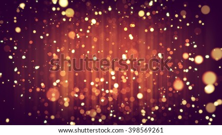 Abstract de-focused yellow particles on red background